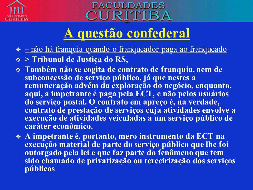A questão confederal– não há franquia quando o franqueador paga ao franqueado. > Tribunal de Justiça do RS,