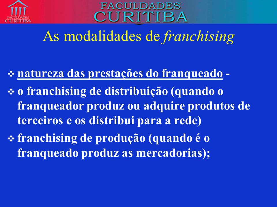 As modalidades de franchising