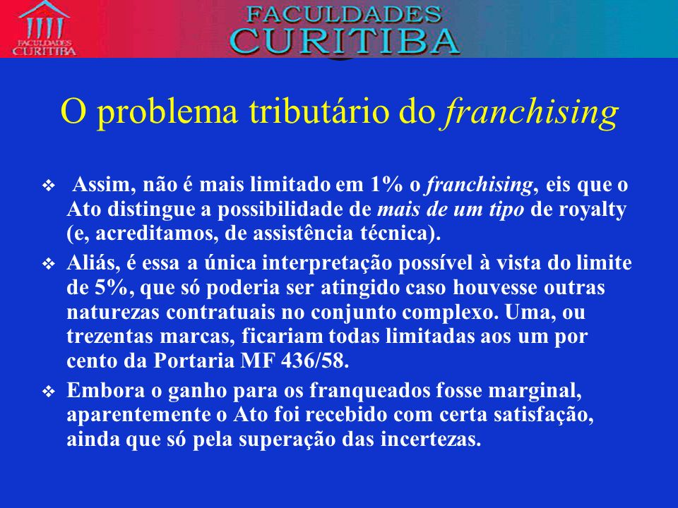 O problema tributário do franchising
