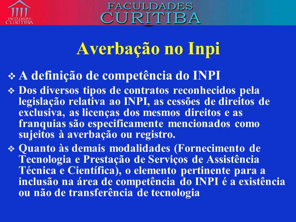 Averbação no Inpi A definição de competência do INPI