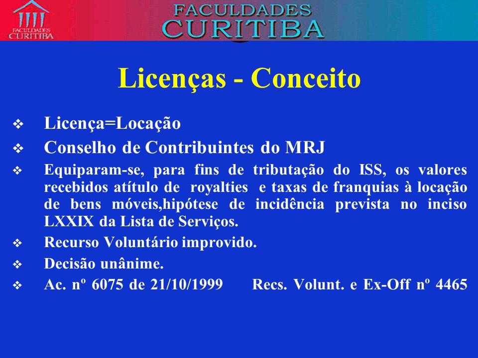 Licenças - Conceito Licença=Locação Conselho de Contribuintes do MRJ
