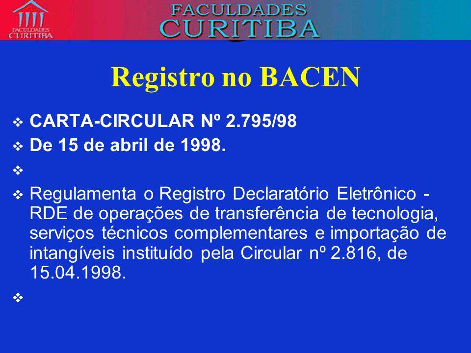 Registro no BACEN CARTA-CIRCULAR Nº 2.795/98 De 15 de abril de 1998.