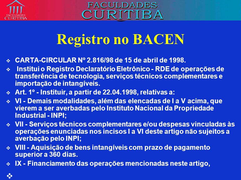 Registro no BACEN CARTA-CIRCULAR Nº 2.816/98 de 15 de abril de 1998.