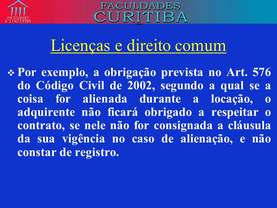 Licenças e direito comum