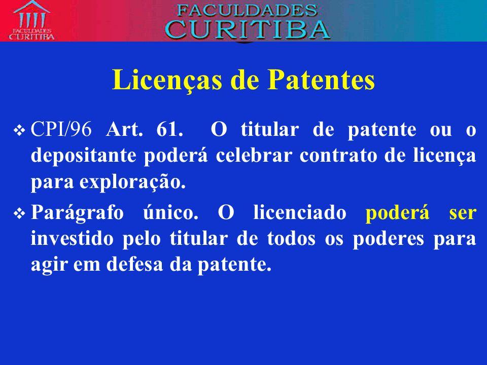 Licenças de PatentesCPI/96 Art. 61. O titular de patente ou o depositante poderá celebrar contrato de licença para exploração.