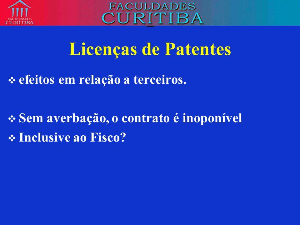 Licenças de Patentes efeitos em relação a terceiros.
