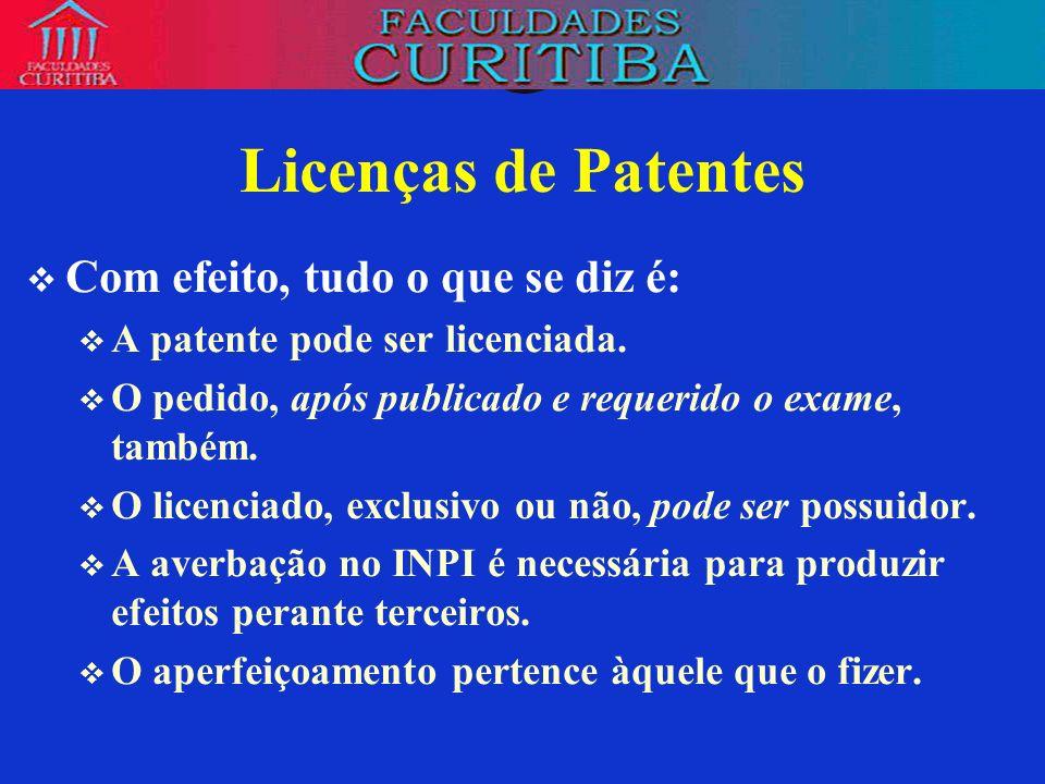 Licenças de Patentes Com efeito, tudo o que se diz é: