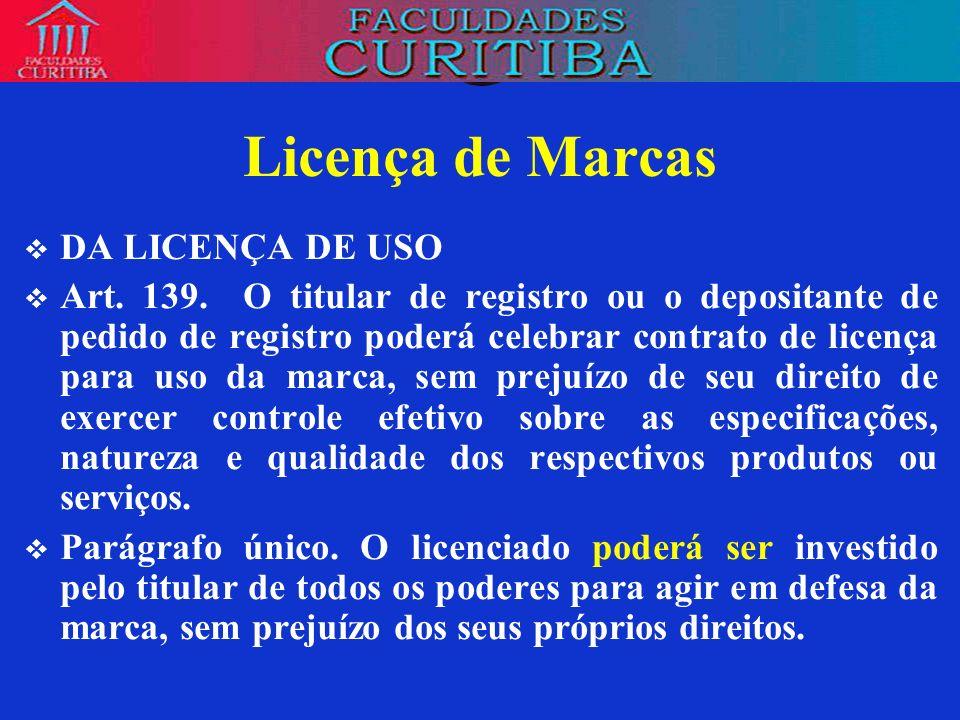 Licença de Marcas DA LICENÇA DE USO