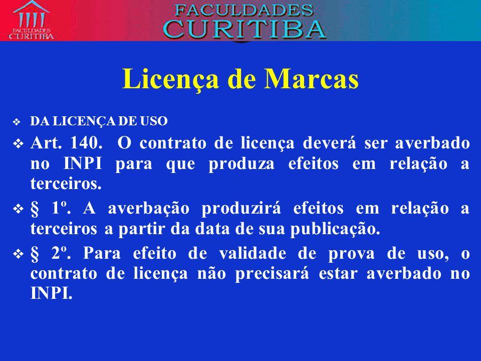 Licença de MarcasDA LICENÇA DE USO. Art. 140. O contrato de licença deverá ser averbado no INPI para que produza efeitos em relação a terceiros.