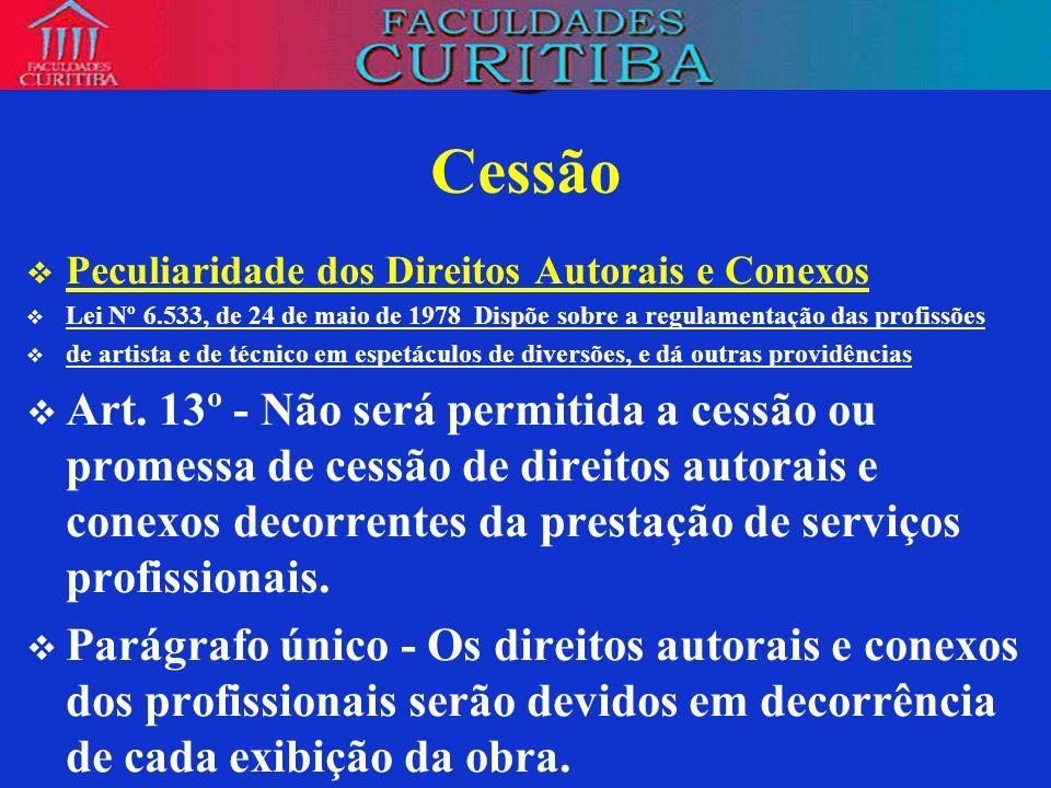 Cessão Peculiaridade dos Direitos Autorais e Conexos. Lei Nº 6.533, de 24 de maio de 1978 Dispõe sobre a regulamentação das profissões.
