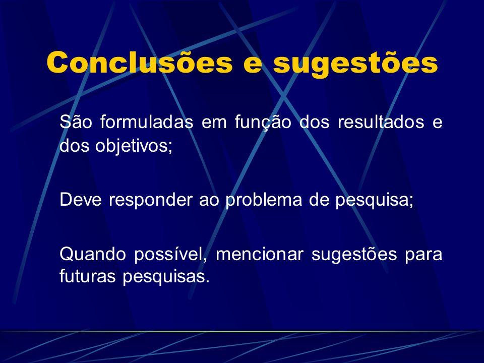 Conclusões e sugestões