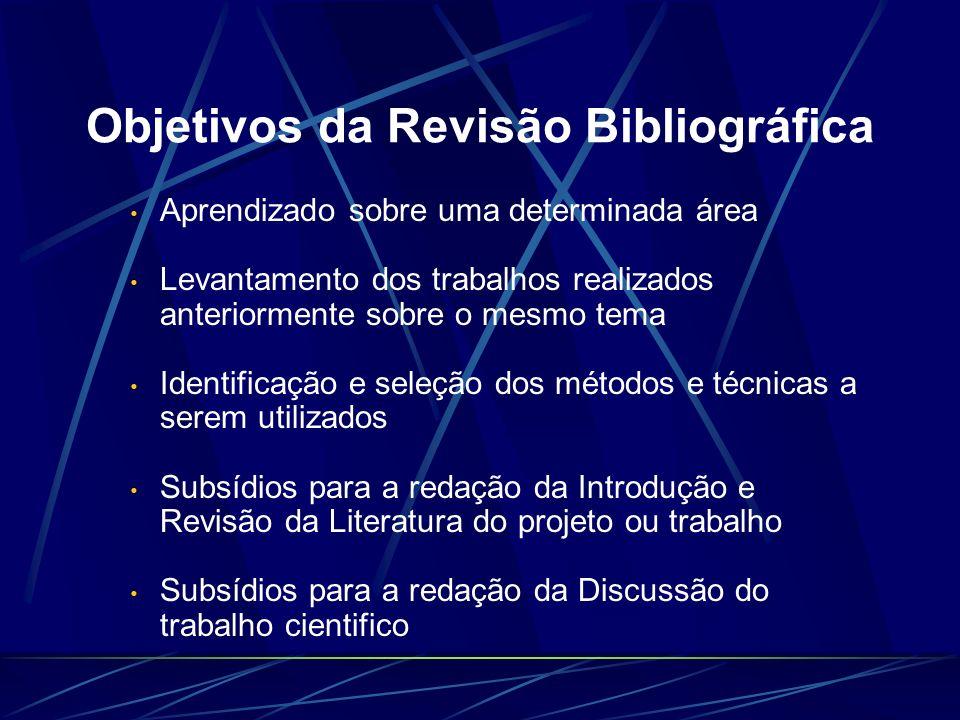 Objetivos da Revisão Bibliográfica