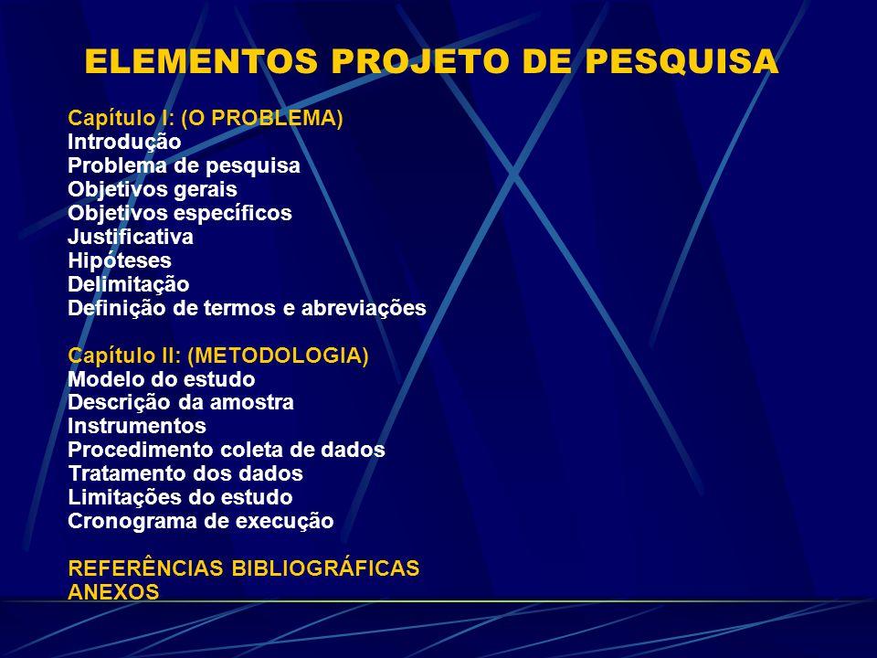 ELEMENTOS PROJETO DE PESQUISA
