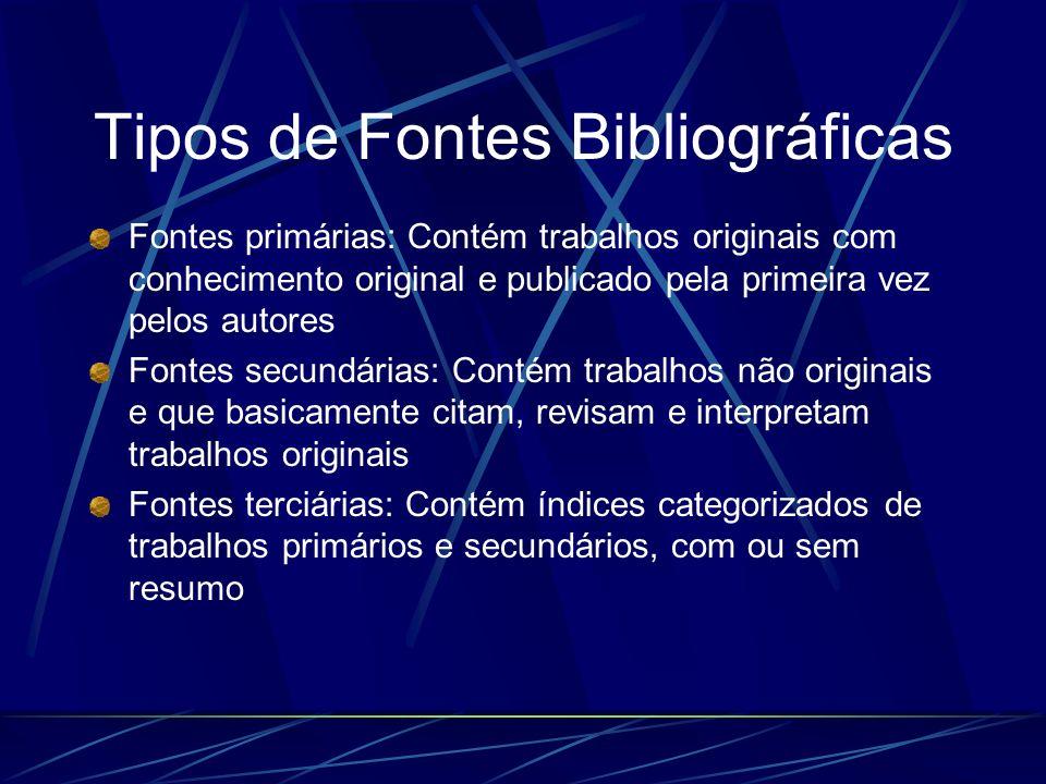 Tipos de Fontes Bibliográficas