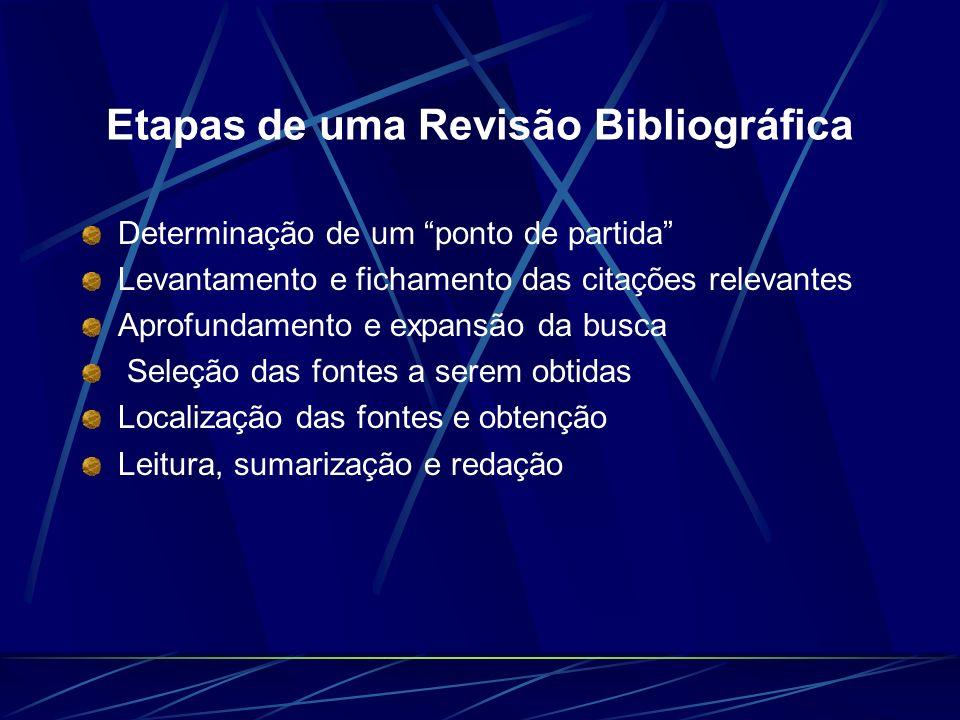 Etapas de uma Revisão Bibliográfica