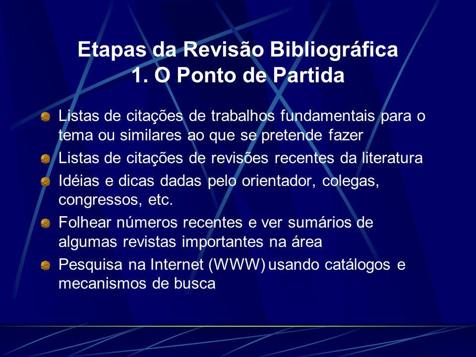 Etapas da Revisão Bibliográfica 1. O Ponto de Partida