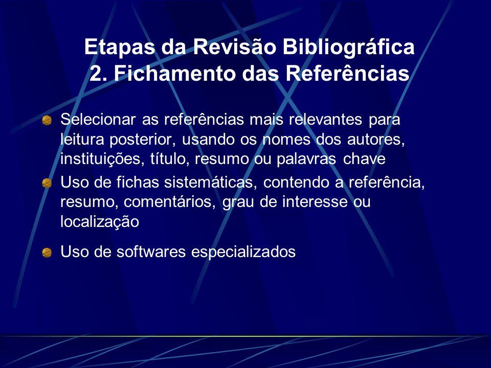 Etapas da Revisão Bibliográfica 2. Fichamento das Referências