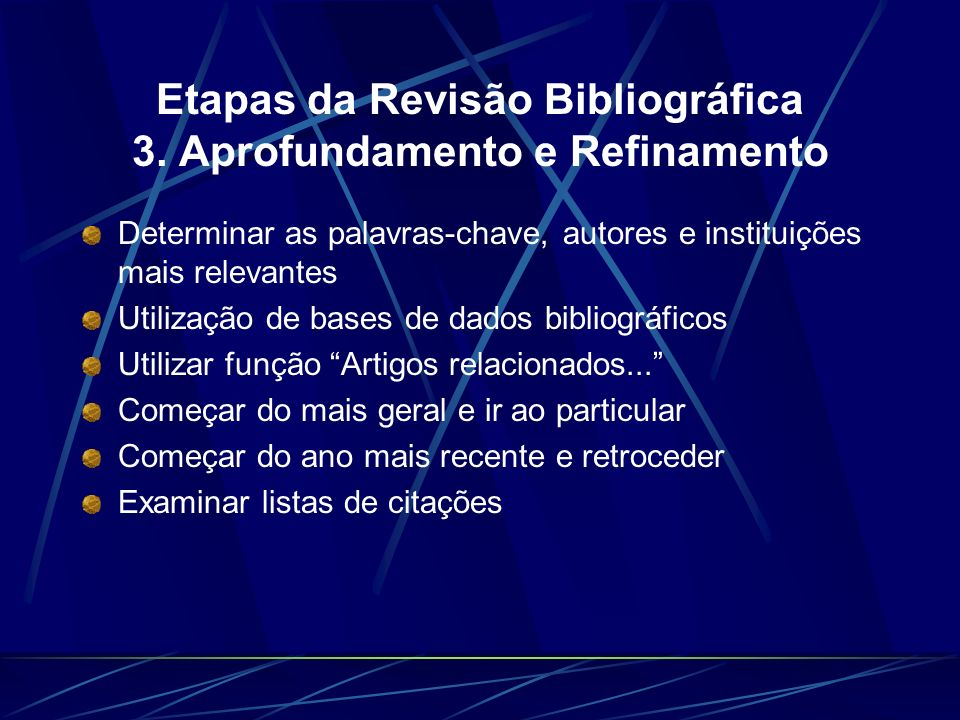 Etapas da Revisão Bibliográfica 3. Aprofundamento e Refinamento
