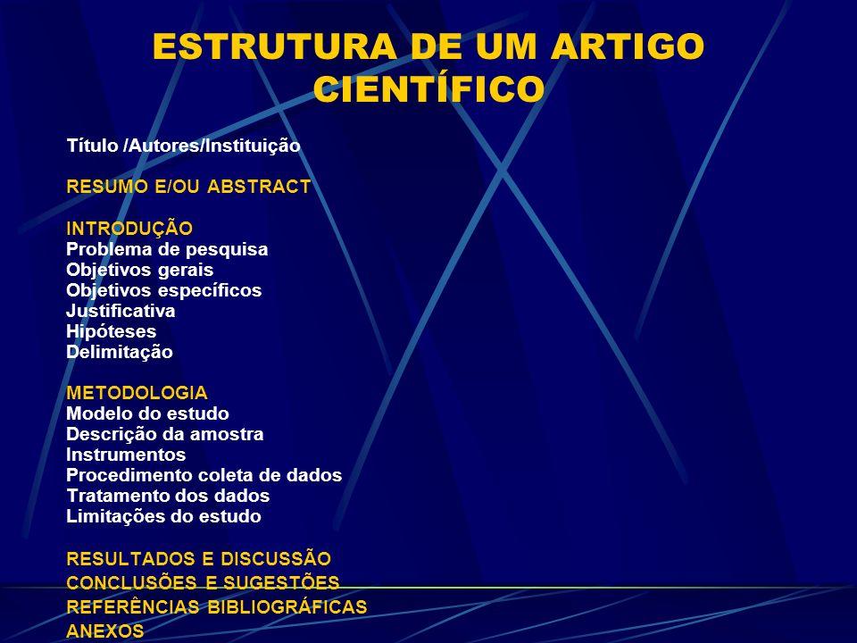 ESTRUTURA DE UM ARTIGO CIENTÍFICO