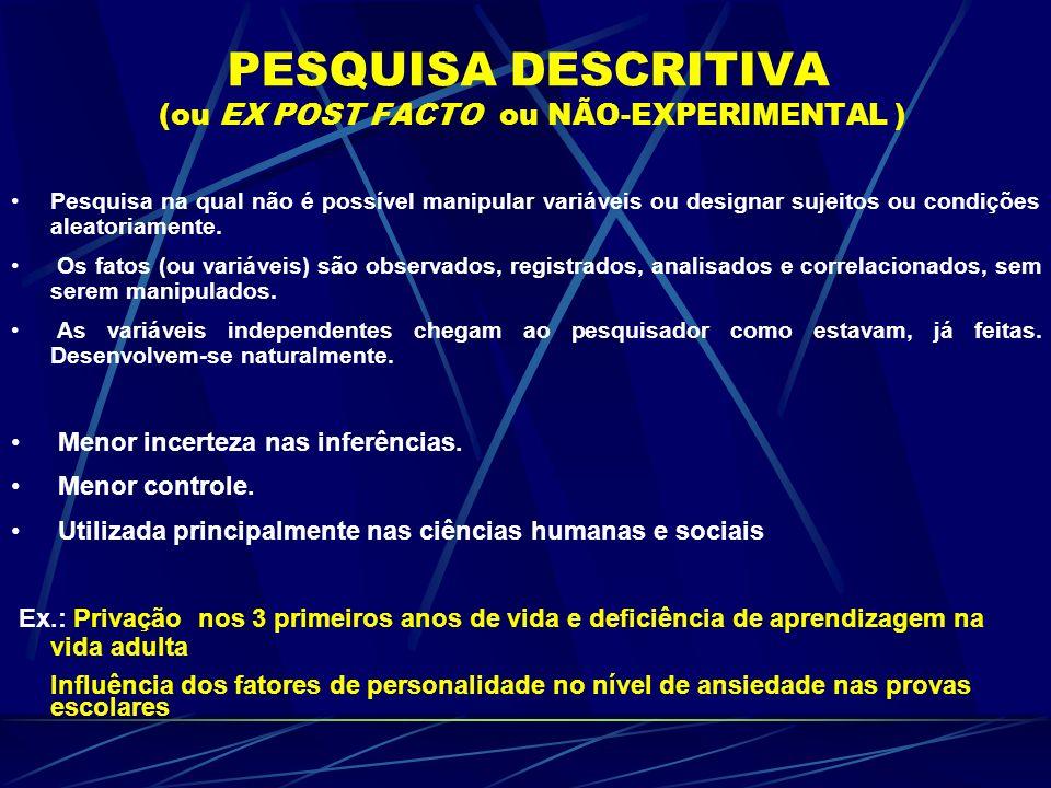 PESQUISA DESCRITIVA (ou EX POST FACTO ou NÃO-EXPERIMENTAL )