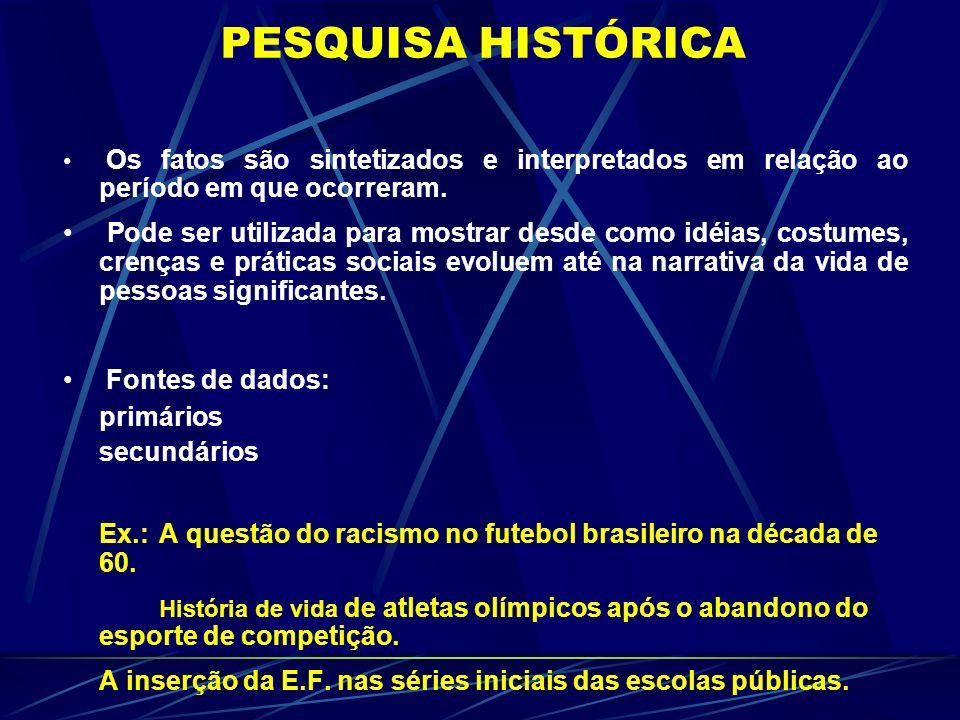 PESQUISA HISTÓRICA Os fatos são sintetizados e interpretados em relação ao período em que ocorreram.