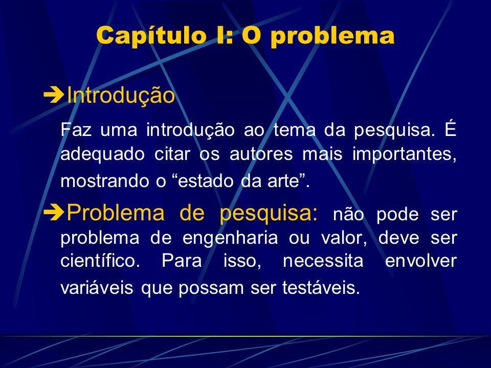 Capítulo I: O problema Introdução