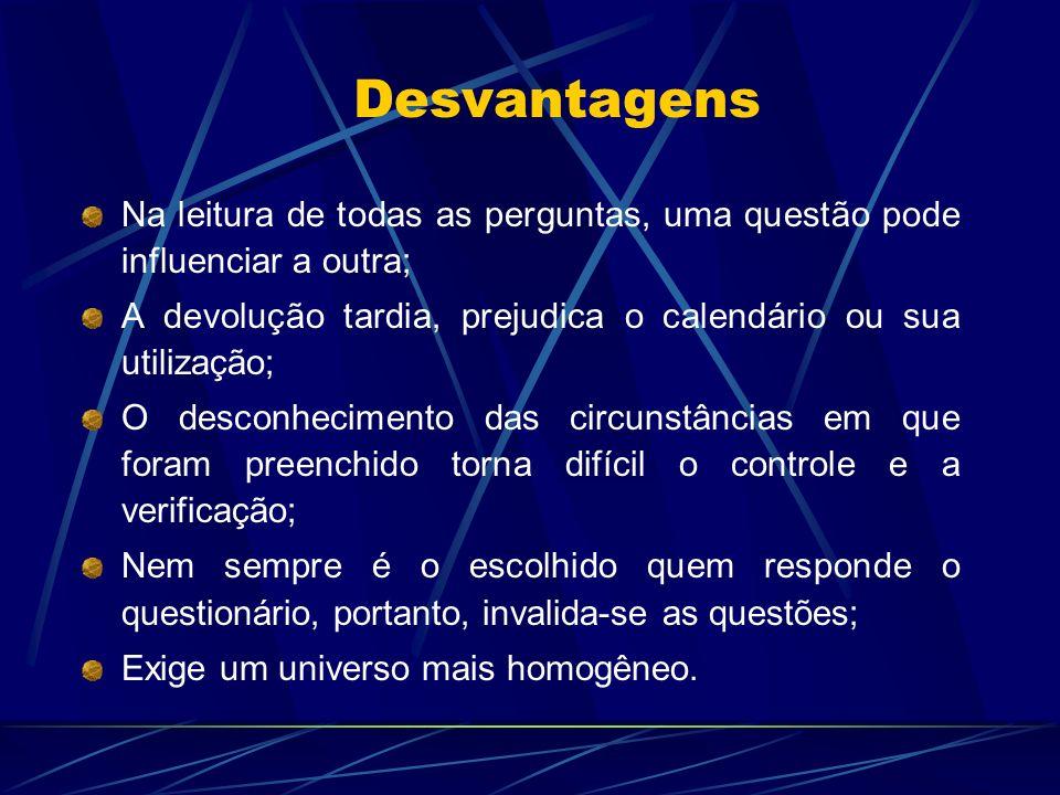 Desvantagens Na leitura de todas as perguntas, uma questão pode influenciar a outra; A devolução tardia, prejudica o calendário ou sua utilização;