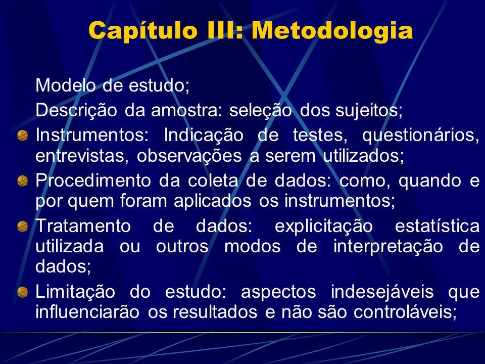 Capítulo III: Metodologia