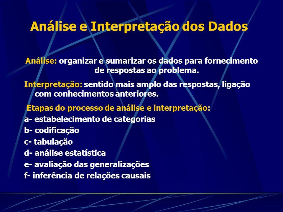 Análise e Interpretação dos Dados