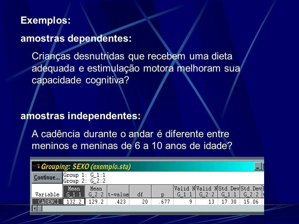 Exemplos: amostras dependentes: Crianças desnutridas que recebem uma dieta adequada e estimulação motora melhoram sua capacidade cognitiva