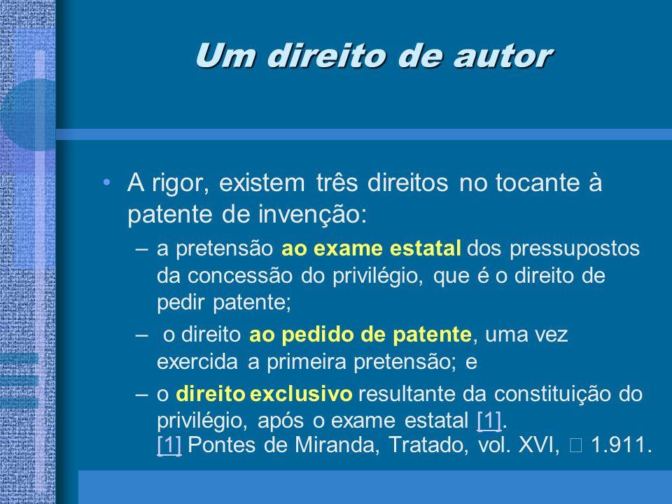 Um direito de autor A rigor, existem três direitos no tocante à patente de invenção: