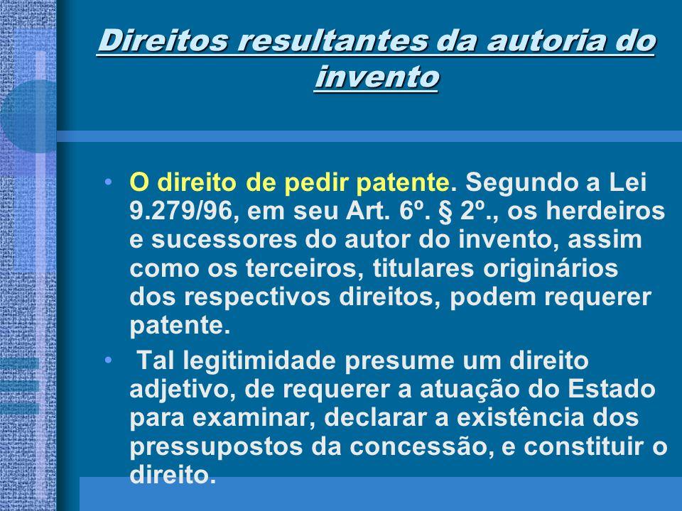 Direitos resultantes da autoria do invento