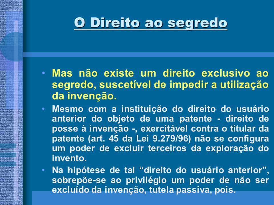 O Direito ao segredo Mas não existe um direito exclusivo ao segredo, suscetível de impedir a utilização da invenção.