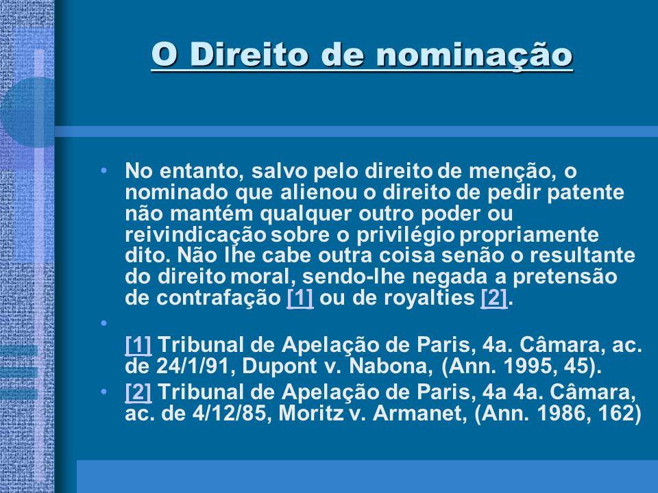 O Direito de nominação