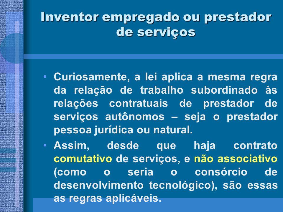 Inventor empregado ou prestador de serviços