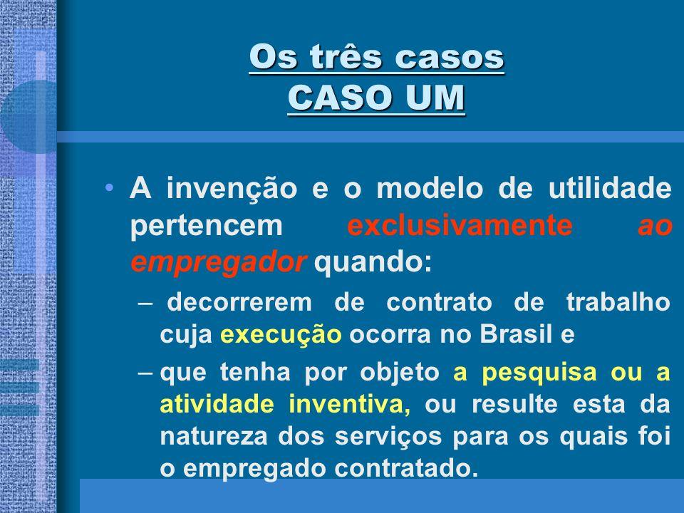 Os três casos CASO UMA invenção e o modelo de utilidade pertencem exclusivamente ao empregador quando: