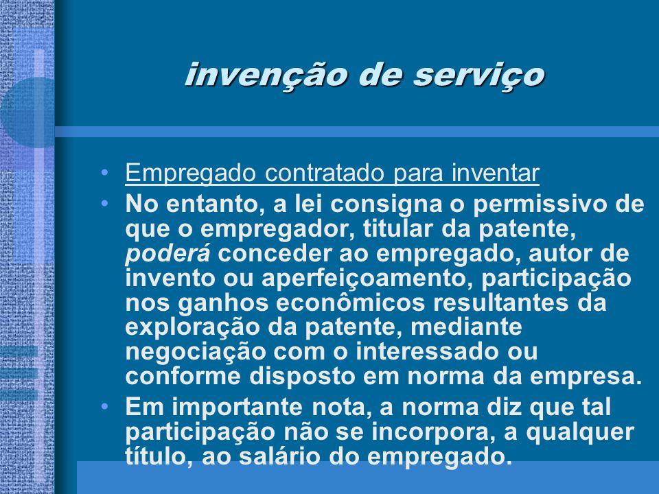 invenção de serviço Empregado contratado para inventar