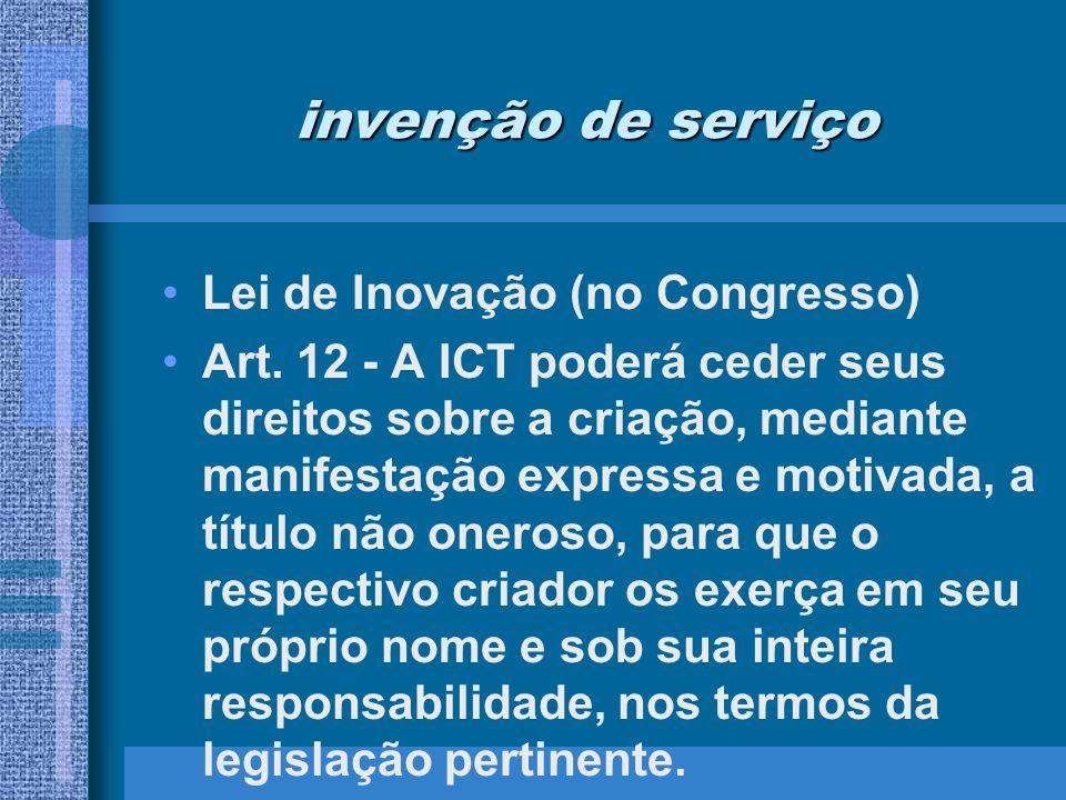 invenção de serviço Lei de Inovação (no Congresso)