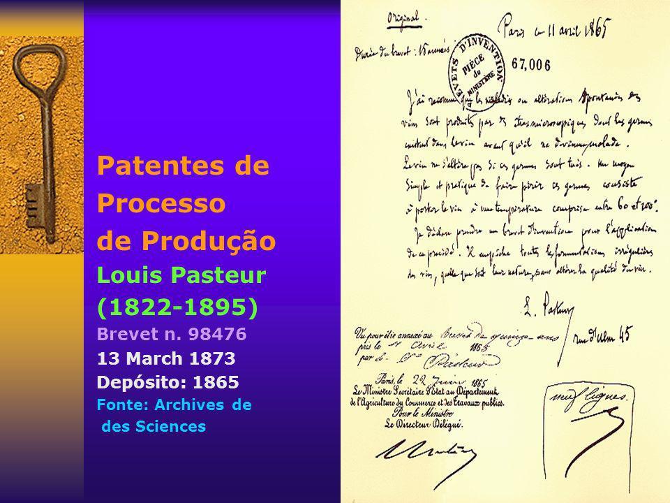 Patentes de Processo de Produção Louis Pasteur (1822-1895)