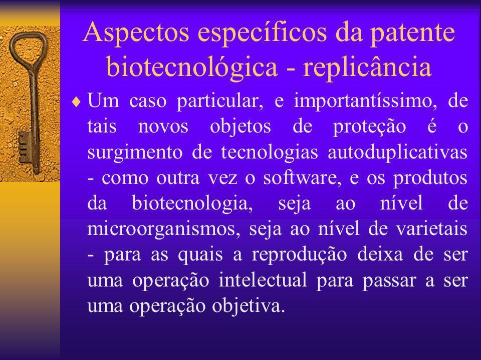 Aspectos específicos da patente biotecnológica - replicância
