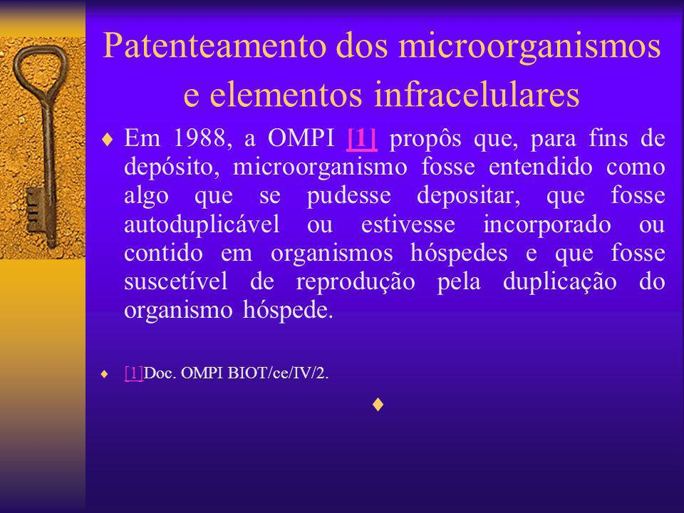 Patenteamento dos microorganismos e elementos infracelulares