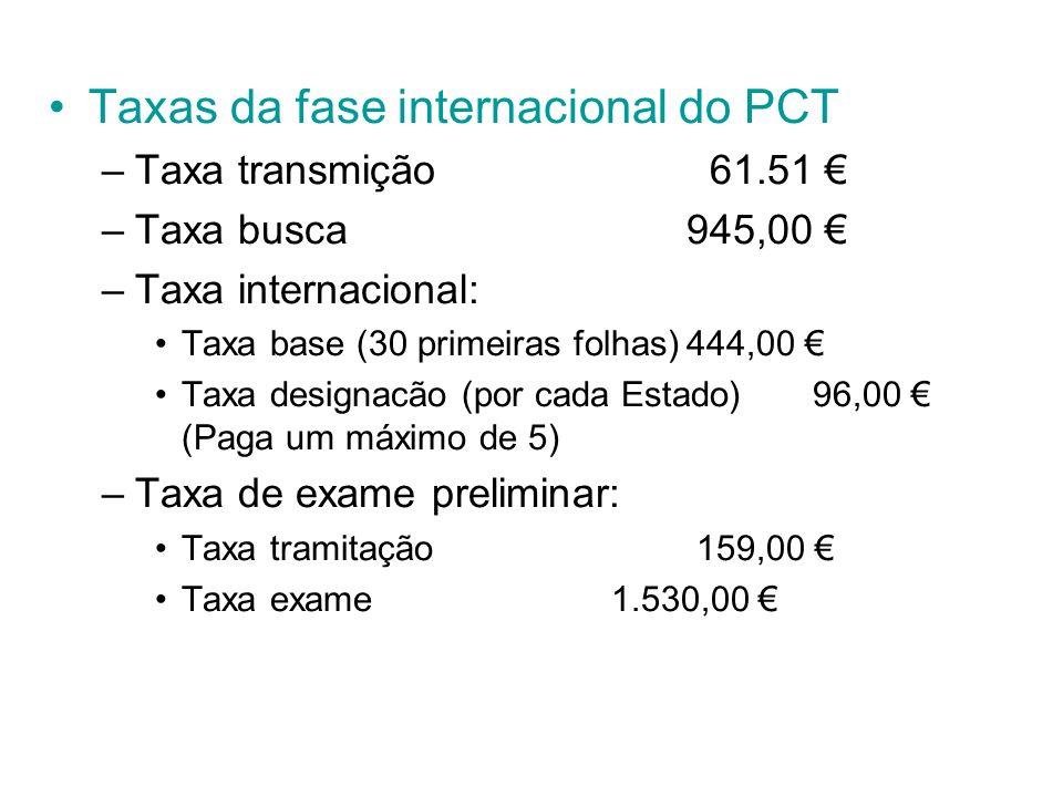 Taxas da fase internacional do PCT