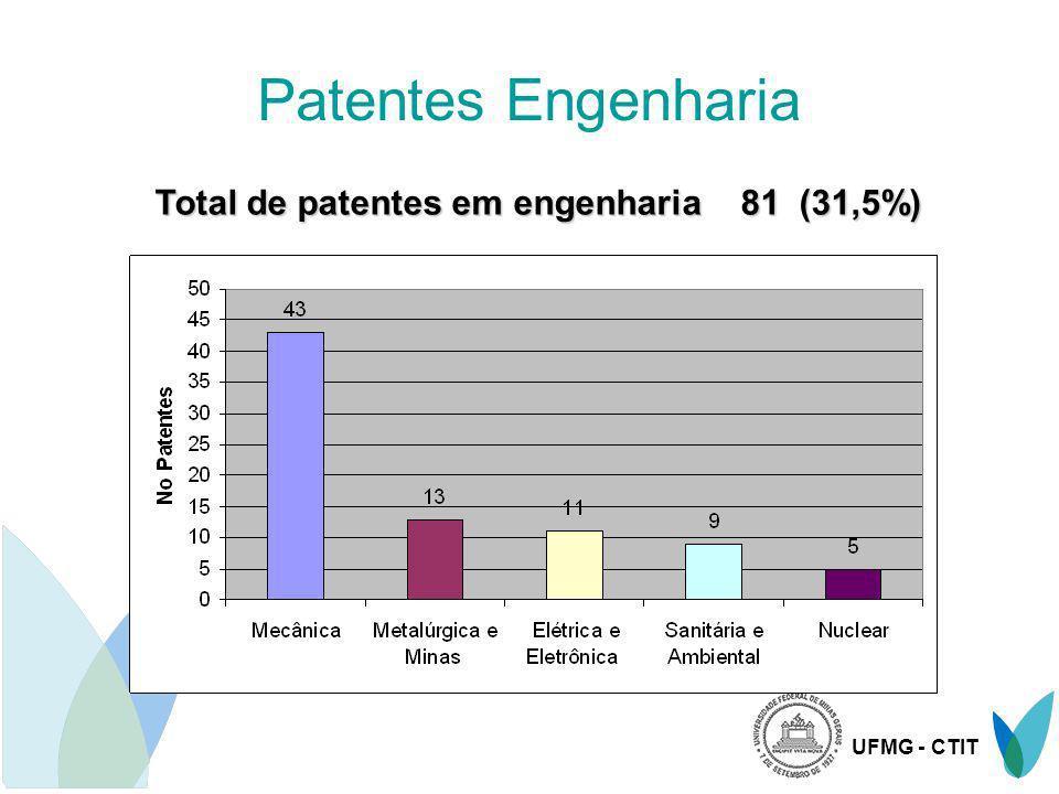 Total de patentes em engenharia 81 (31,5%)