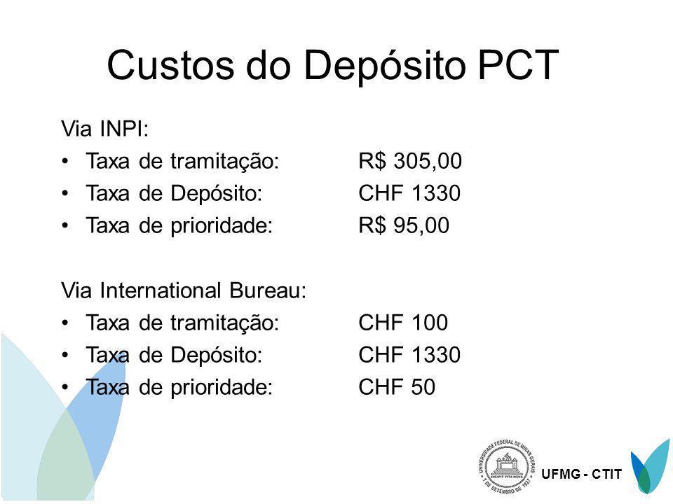 Custos do Depósito PCT Via INPI: Taxa de tramitação: R$ 305,00