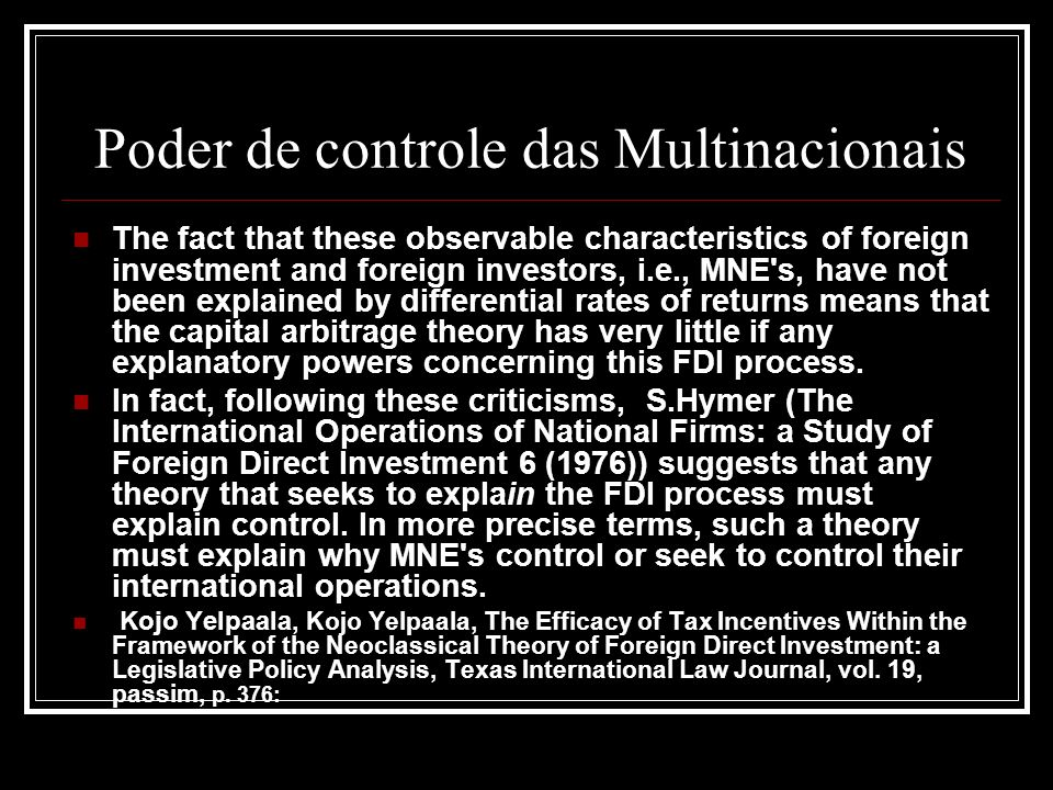 Poder de controle das Multinacionais