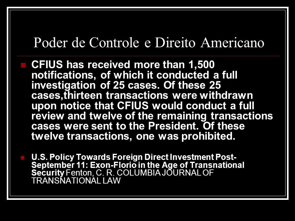 Poder de Controle e Direito Americano