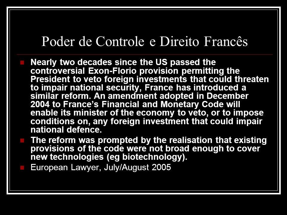 Poder de Controle e Direito Francês