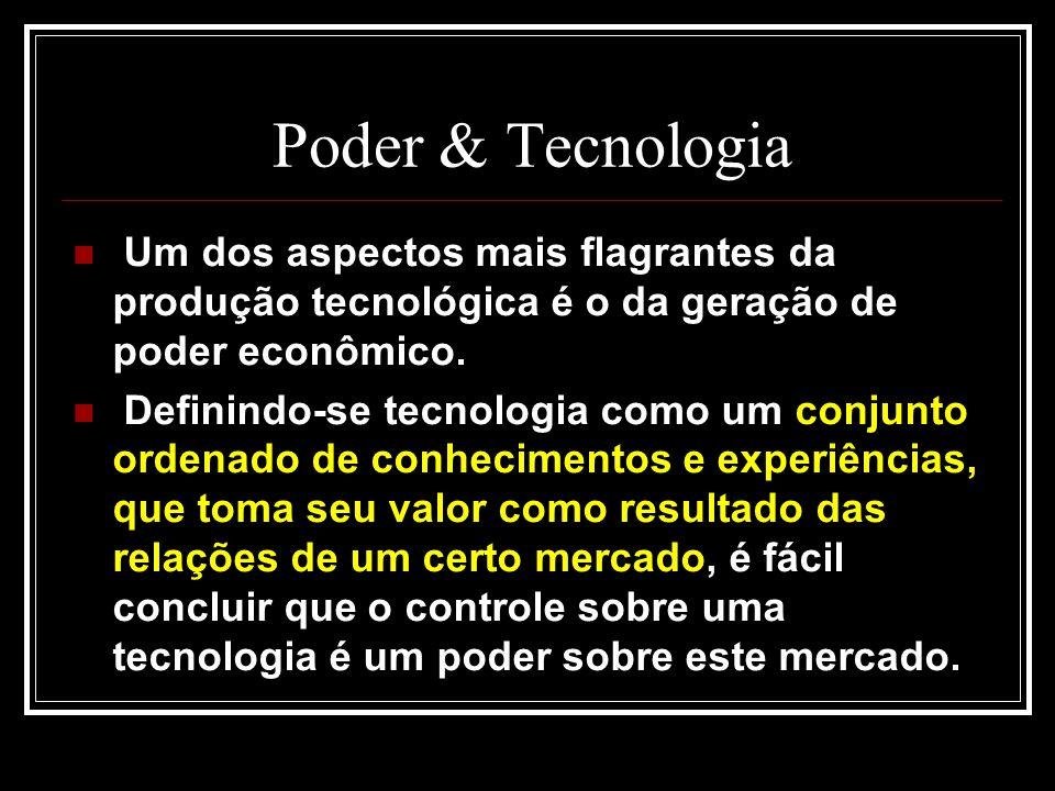 Poder & Tecnologia Um dos aspectos mais flagrantes da produção tecnológica é o da geração de poder econômico.