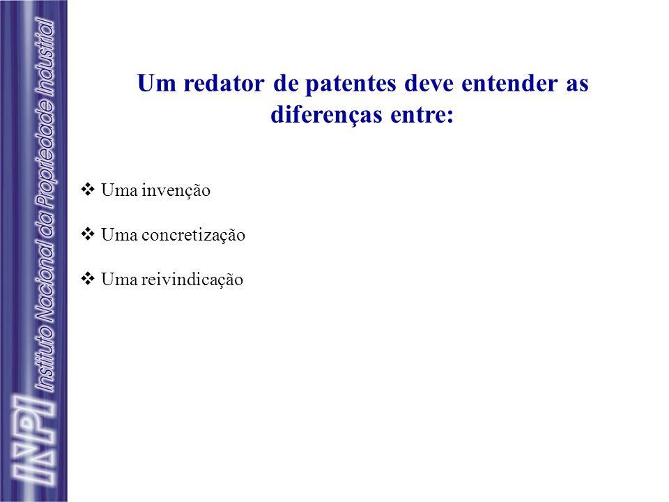 Um redator de patentes deve entender as diferenças entre: