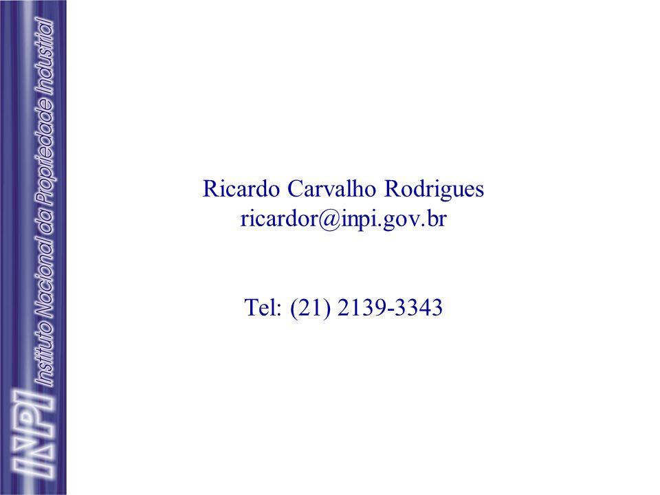 Ricardo Carvalho Rodrigues ricardor@inpi.gov.br Tel: (21) 2139-3343